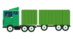 Truck & Trailer (dog): <br>H4.1m; W3m; L20m